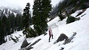 hiking through snow lake trail