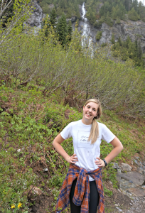 in front of waterfall snow lake trail