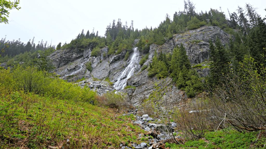 waterfall snow lake trail