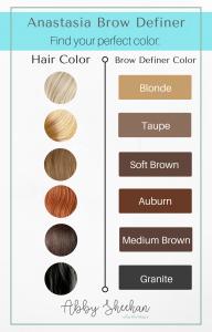 anastasia brow definer color guide